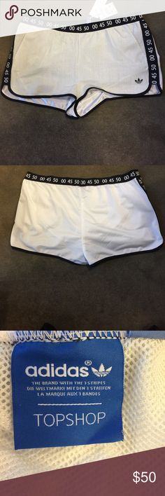 Top shop leather adidas shorts New and never used.  Original retail $135.  Has elastic waistband and liner Adidas Shorts
