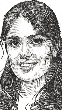 Wall Street Journal portrait (hedcut) of Salma Hayek Pencil Portrait, Portrait Art, Portraits, Chuck Close Art, Stippling Art, Engraving Printing, Drawing Projects, Black And White Drawing, Portrait Illustration