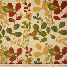 Refresh and modernize any home decor with this heavyweight jacquard fabric. Perfect fabric for revitalizing an old piece of furniture and updating it with a new look. This fabric is an appropriate weight for accent pillows, slipcovers and upholstering furniture, headboards and ottomans. Colors include golden yellow, green, rust red and ivory.