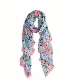 AEO Bright Printed Scarf, Ebony Grey   American Eagle Outfitters