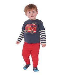 36a2ac4d8 Frugi Little Look-Out Fire Engine Top Baby Boy T Shirt