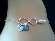 Personalized Infinity Braceletinitial Bracelet by LaLaCrystal