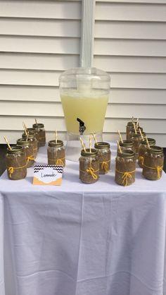 My yellow gender reveal lemonade stand
