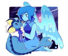 Lapis Lazuli and vaporeon. Steven universe. Pokemon.