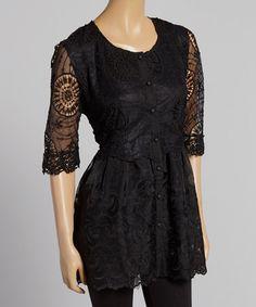 Look what I found on #zulily! Black Crochet Linen-Blend Button-Up Tunic by Pretty Angel #zulilyfinds