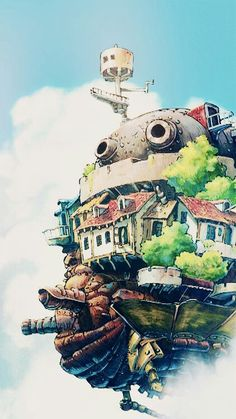 Howl's Moving Castle (the Miyazaki movie and the book by Diana Wynne Jones) Manga Anime, Film Anime, Anime Art, Howl's Moving Castle, Howls Moving Castle Wallpaper, Studio Ghibli Art, Studio Ghibli Movies, Hayao Miyazaki, Le Vent Se Leve