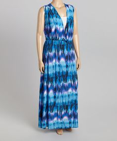 Another great find on #zulily! Blue Tie Dye Surplice Maxi Dress - Plus #zulilyfinds