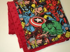 Minky Superhero Baby Blanket, Minky Marvel Comics Stroller Blanket, The Hulk, Wolverine, Spider-man, Cpt. America... via Etsy