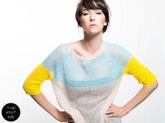 Super kid mohair knit sweater aqua sweater yellow transparent