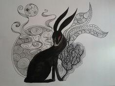 Black Rabbit of Inlé zentangle doodle by Rebecca Watkins, found on http://themagicfarawayttree.tumblr.com/post/68944875100/zentangle-doodle-rebecca-watkins