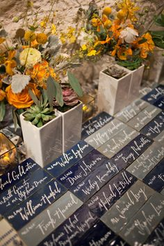 #calligraphy tiles used as escort cards | Photography by karenwise.com, Florals by http://crocushale.com  Read more - http://www.stylemepretty.com/2013/08/19/berkshires-wedding-from-karen-wise-photography/