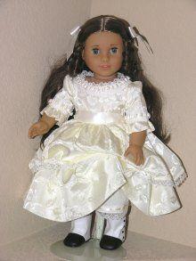 Ivory Satin Brocade Handmade 1800s Doll Dress Cecile Marie Grace