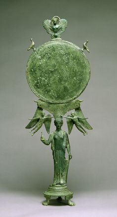 "ancientpeoples: "" Caryatid Mirror with Aphrodite Greece, ca. 460 BC (Classical) Bronze ""A graceful female figure serves as a ""caryatid,"" or human support, for a mirror. The figure's pose, demure. Ancient Greek Art, Ancient Rome, Ancient Greece, Ancient History, Aphrodite, Mycenaean, Minoan, Mythical Birds, Classical Greece"
