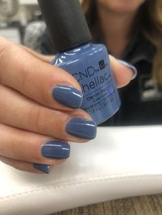 Best Nail Polish Colors of 2020 for a Trendy Manicure Blue Shellac Nails, Shellac Nail Designs, Cnd Nails, Blue Nail Polish, Gel Nail Colors, Cnd Shellac Colors Winter, Oval Nails, Gel Polish, Pretty Nails