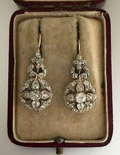 A Magnificent Pair Of 4ct Old Mine Cut Diamond Earrings Circa 1800's
