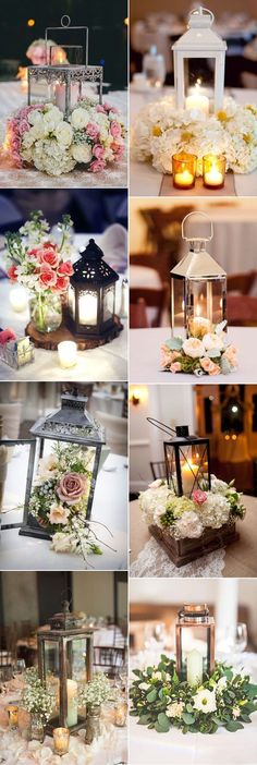 gorgeous lantern and floral wedding centerpieces ideas (Diy Wedding Decorations) Vintage Wedding Centerpieces, Wedding Reception Decorations, Table Decorations, Wedding Vintage, Wedding Rustic, Centerpiece Ideas, Rustic Centerpieces, Vintage Weddings, Wedding Favors