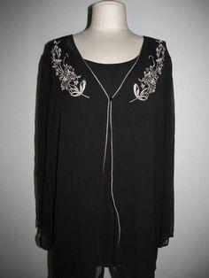 Avenue 22/24 black silk chiffon blouse with tan trim & embroidery - so pretty!