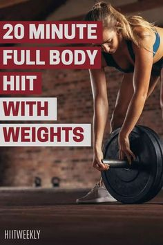 Get the weights out, it's time for a weighted HIIT workout. This full body high intensity interval circuit will make you feel amazing and it only lasts 20 minutes! Hiit Workouts With Weights, Weights Workout For Women, Hiit Workouts For Beginners, Full Body Hiit Workout, Hiit Workout At Home, At Home Workouts, Workout Results, Circuit Training, Kettlebell