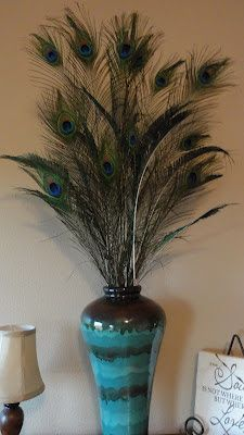 Artificial Flower Arrangement Peacock Feathers Mirror Vase