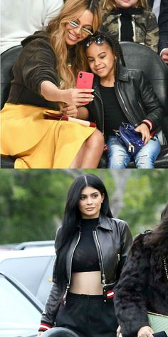 Who wore it better? Kylie Jenner or Blue Ivy Carter? Givenchy Black Leather Jacket from Women's Resort 2017 Collection. Adorable Mini Me Look for Girls now on SALE!  Blue Ivy wore this Givenchy Streetwear Look featuring a leather blouson jacket. Inspired by the adult collection, the trims add luxury detail and the striped hem can be removed, allowing for a versatile look that's sure to get noticed. #blueivy #beyonce #celebrity #celebritykids #givenchy #kidsfashion #skiing #style #fashion