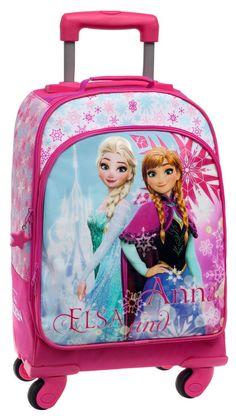 Mochila Ice Frozen de Disney de 4 ruedas con asa extensible para llevar rodando, también dispone de cintas para llevar al hombro si se desea