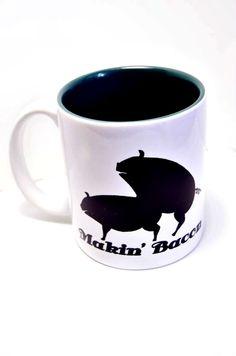 Makin Bacon coffee mug with Pigs , Making Bacon, Funny coffee mug, gag gift Novelty humor Joke Gifts, Gag Gifts, Funny Gifts, Coffee Mug Quotes, Funny Coffee Mugs, Funny Mugs, How To Make Bacon, Making Bacon, Coffee Cups