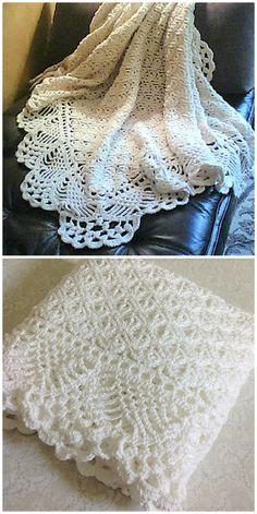 Crochet Baby Shawl, Crochet Baby Blanket Free Pattern, Manta Crochet, Crochet Bebe, Crochet Motif, Crochet Stitches, Baby Knitting, Free Crochet, Crochet Crafts
