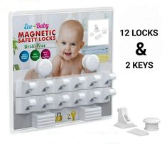Eco-Baby Child Safety Magnetic Cabinet and Drawer Locks for Proofing Kitchen 12 Pack Child Latches #baby  #babyregistry #babyessentials #WhatBabiesLove #babyproducts #babymusthave #pregnantdogideas #diapers #babies #newmoms  #parentingtips  #moneysaving  #baby  #pregnancy #mom #toys