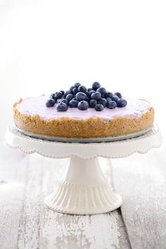 This No Bake Blueberry Cheesecake is super easy to make. It is a great dessert for making ahead of time to serve to guests or to bring to a friend's house.