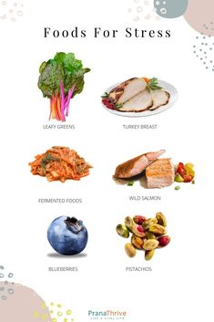 best foods for stress | pranathrive.com Athlete Nutrition, Health And Nutrition, Nutrition Program, Nutrition Education, Health And Wellbeing, Health Diet, Health Benefits, Healthy Eating Recipes, Healthy Tips