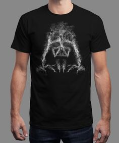 """Darth Smoke"" is today's £8/€10/$12 tee for 24 hours only on www.Qwertee.com Pin this for a chance to win a FREE TEE this weekend. Follow us on pinterest.com/qwertee for a second! Thanks:)"