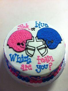 baby gender, gender reveal parties, cake idea, babi gender, football season, party cakes, gender reveal cakes, cake baby, baby showers