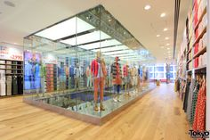 Uniqlo Ginza - with a complete floor with just UT - their Tshirt shop! Tokyo Fashion, Visual Merchandising, Uniqlo, Retail, Japan, Interior, Open Spaces, Pictures, Floor