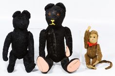 Lot 434: Black Bear and Monkey Assortment; Three items including a black plush…