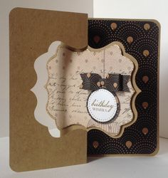 Craftwork Cards Paper Bows Pad Vogue/Monochrome on Kraft twister card with Vogue papers.  Card designed by Julie Hickey