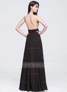 8c24acc588 Corte A Princesa Cuello alto Hasta el suelo Gasa Vestido de baile de  promoción con