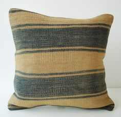 Sukan / SOFT Hand Woven - Turkish Striped Kilim Pillow Cover - 16x16 $79.95