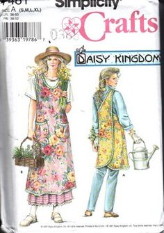 daisy kingdom patterns and fabrics | Simplicity 7481 Size A Daisy Kingdom Apron Pattern UNCUT
