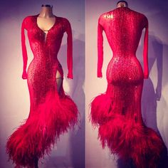 Glorious red and feather Latin dress - VESA