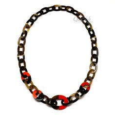 QueCraft Horn & Lacquer Chain Necklace - Q11984-O