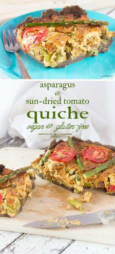 Vegan Asparagus and Sun-Dried Tomato Quiche Vegan Dinner Recipes, Vegan Breakfast Recipes, Vegan Recipes Easy, Brunch Recipes, Whole Food Recipes, Vegetarian Recipes, Vegan Ideas, Egg Recipes, Delicious Recipes