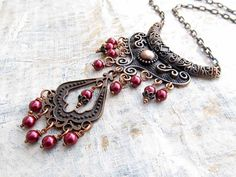 burgundy Statement necklace gift for her by Gypsymoondesigns