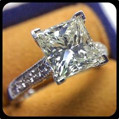 Sparkly 3 carat Princess cut diamond set in our Paradiso-3076P