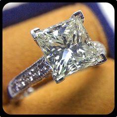 Sparkly 3 carat Princess cut diamond set in our Paradiso-3076P