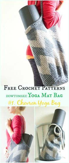 Chevron Yoga Bag Free Crochet Pattern -#Crochet; #Yoga; Mat Bag Free Patterns