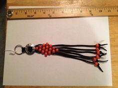 Key Chain Beaded Leather Lace & Concho Handmade Orange Black Fringe Key Chain  #Unbranded