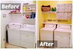 The yellow accent wall makes the laundry room!