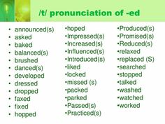 ESL students can practice listening to and pronouncing the regular verbs in past tense (-ed endings). English Primary School, English Class, English Lessons, Teaching English, Learn English For Free, Learn English Words, Improve Your English, Ed Endings, English Conversation Learning