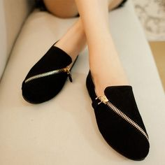 women fashion - Ladies Shoes - Flats - Cute Black Solid Flock Flats - 471561-3506 - |Asia Asian Fashion Wholesale