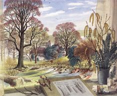"""February"" by Stanley Roy Badmin from The Shell Guide to Trees and Shrubs. Tree Illustration, Book Illustrations, Botanical Illustration, English Artists, British Artists, Landscape Paintings, Landscapes, Landscape Tattoo, Nature Paintings"